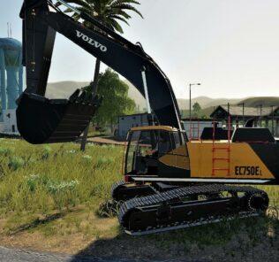Volvo Ec-750El Mining Excavator V1.1 Mod for Farming Simulator 2019 (FS19)