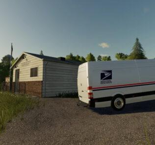 FS19 Us Postal Service Mercedes Sprinter V1.0 Mod [Farming Simulator 19 Mods]